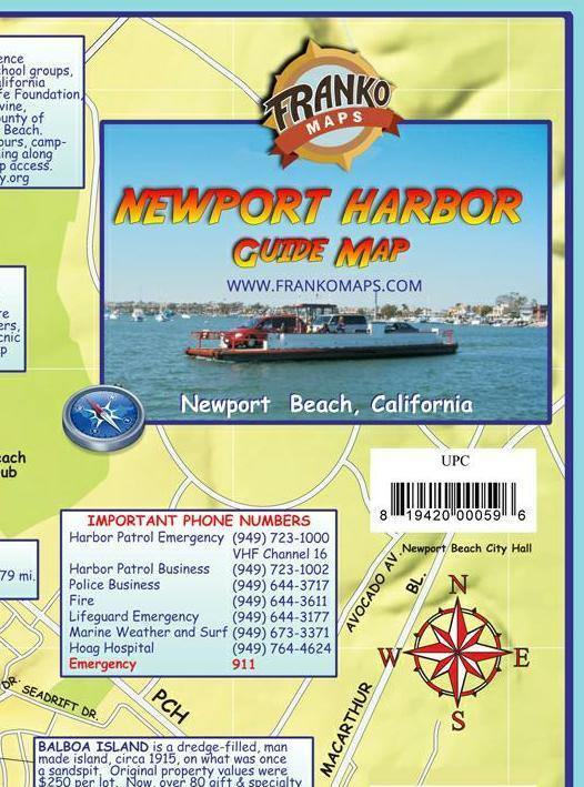 Newport Harbor Guide Map - Frankos Maps