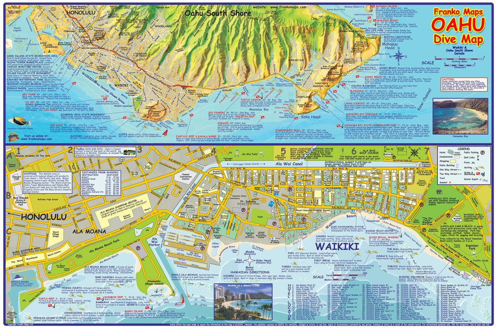 Oahu Dive Map Laminated Poster - Frankos Maps
