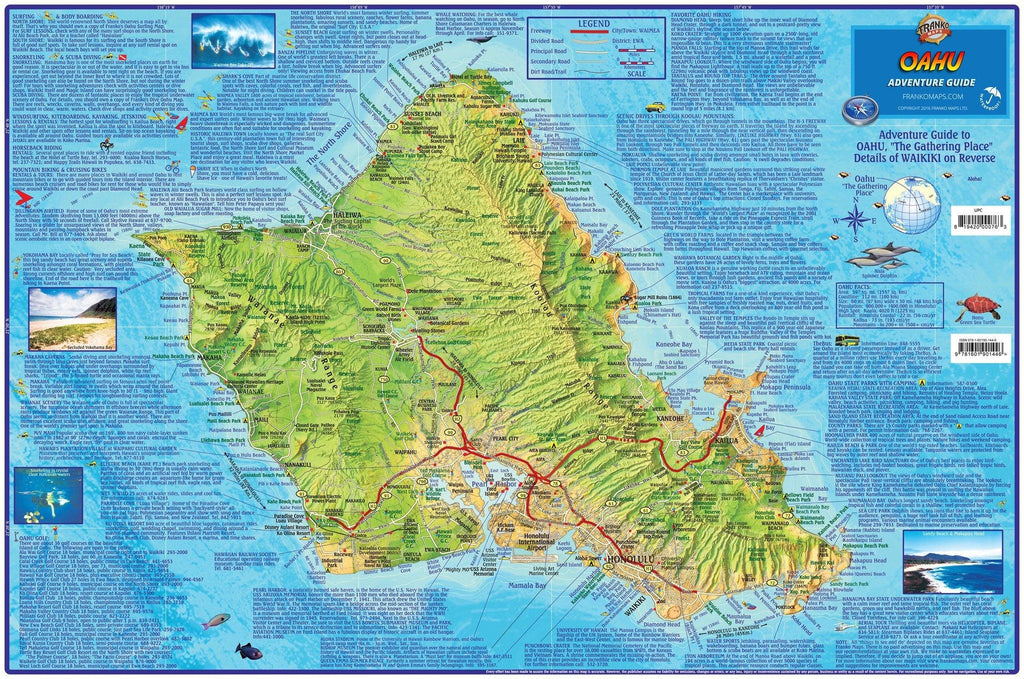 Oahu Adventure Guide Map Laminated Poster - Frankos Maps