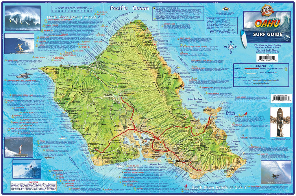 Oahu Surf Map Laminated Poster - Frankos Maps