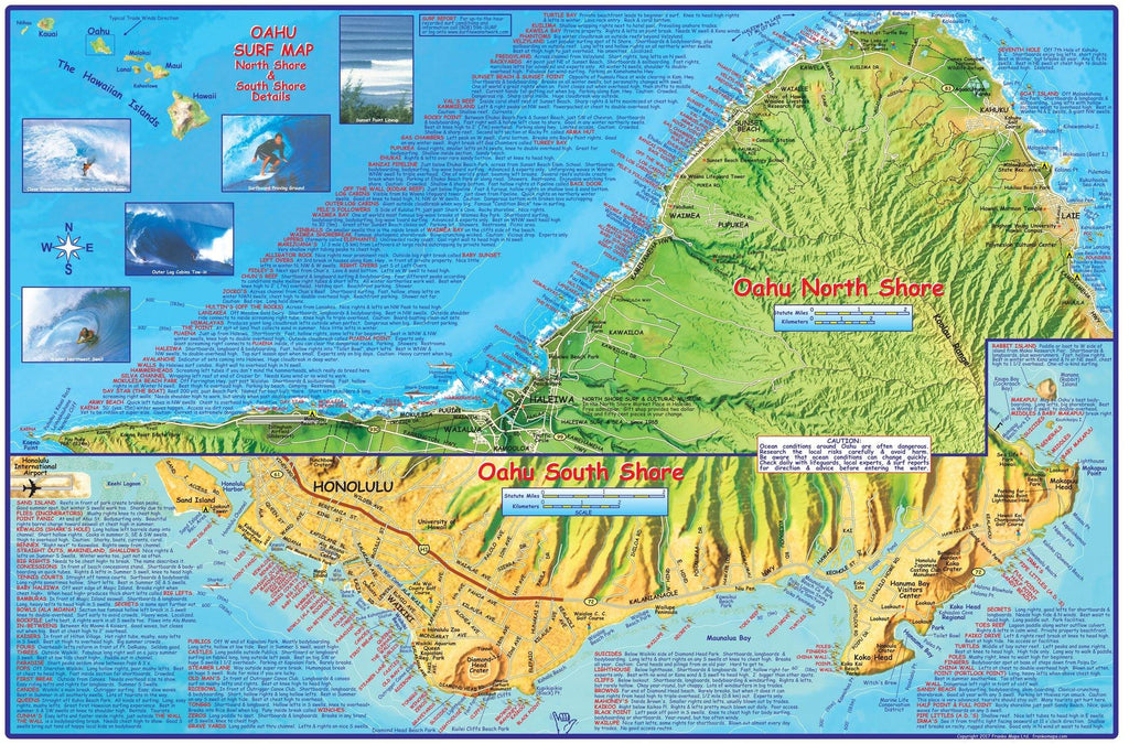 Oahu Surf Guide Map - Frankos Maps