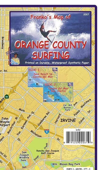 Orange County Surfing Map - Frankos Maps