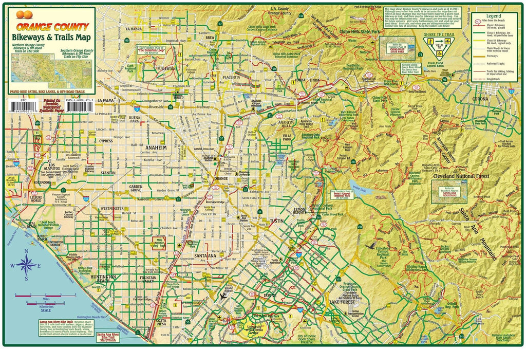 Orange County Bikeways & Trails Map - Frankos Maps