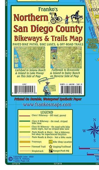 San Diego - North Bikeways & Trails Map - Frankos Maps