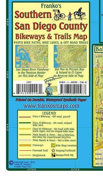 San Diego - South Bikeways & Trails  Map - Frankos Maps