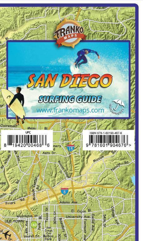 San Diego County Surfing Map - Frankos Maps