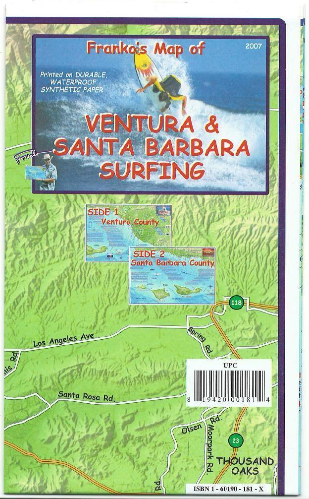 Ventura & Santa Barbara Surfing Map - Frankos Maps
