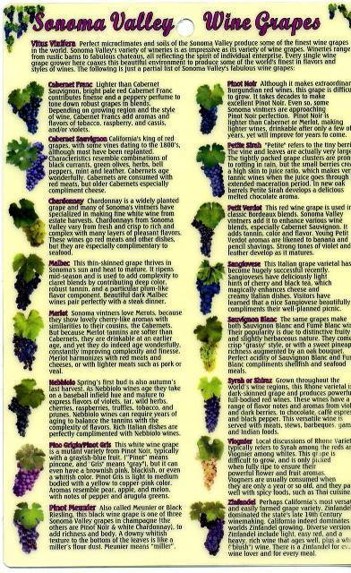 Sonoma Valley Wine Grapes Guide Card - Frankos Maps