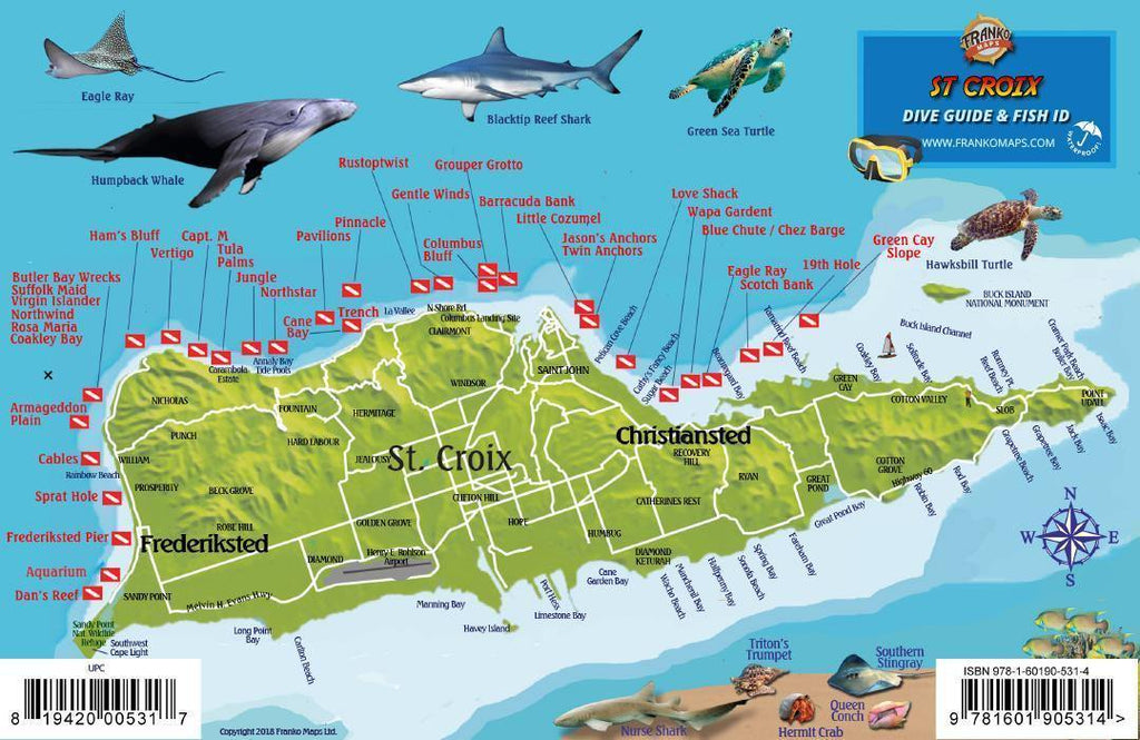 St. Croix USVI Fish Card - Frankos Maps