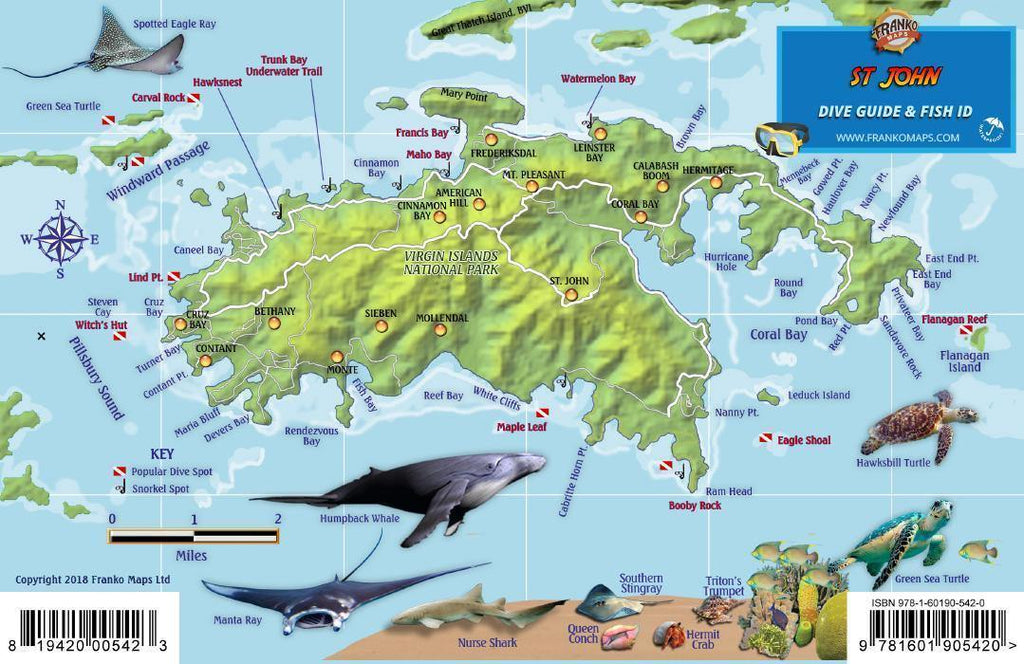St. John USVI Fish Card - Frankos Maps