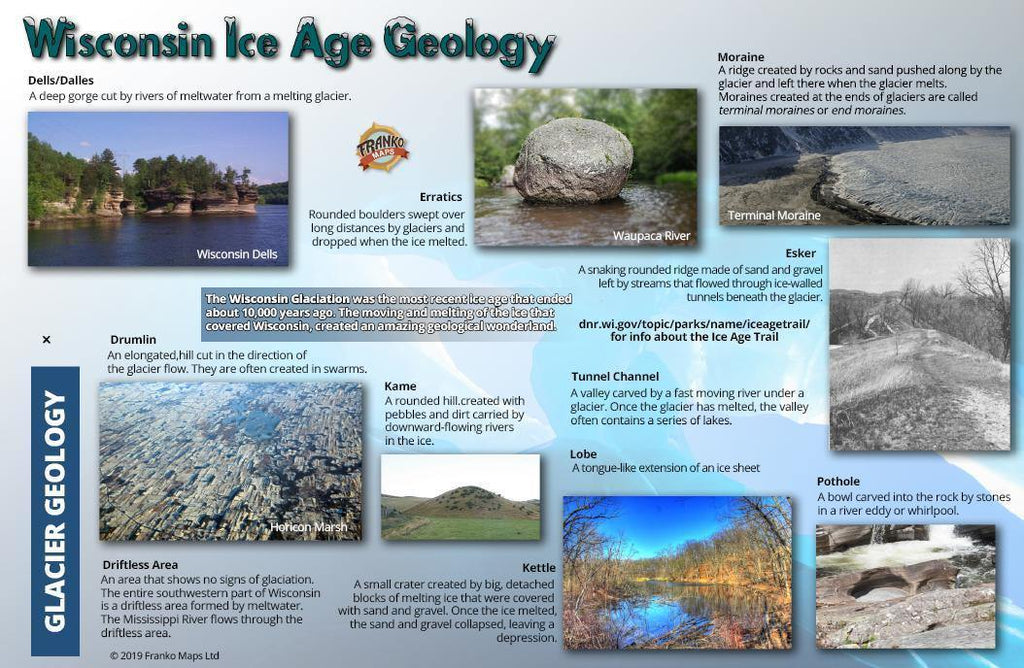 Wisconsin Ice Age Trail & Geology Guide Card - Frankos Maps