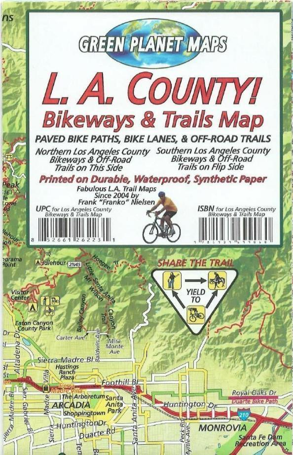Los Angeles County Bikeways & Trails Map - Frankos Maps