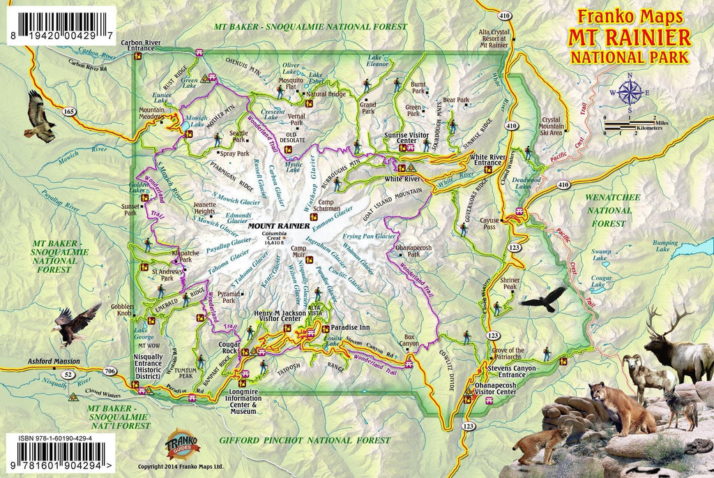 Mt Rainier National Park Guide Card - Frankos Maps