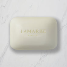 Load image into Gallery viewer, Lamarre Soap Co 5.3oz bar of Peppermint Natural Bar Soap with peppermint essential oils, shea butter and coconut oil on marble counter.
