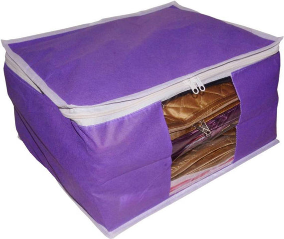 Combo deal Large 10 inch bridal 1pc purple saree cover 1pc blue sari cover and 1pc cream saree box gift organizer bag vanity pouch Capacity 10-15 Units Saree Each Keep saree/Suit/Travelling Pouch