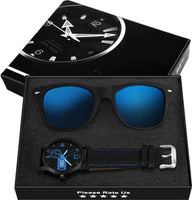 Combo Of Blue Wayfarer Sunglasses with Wrist Watch For Men (5631319670945)