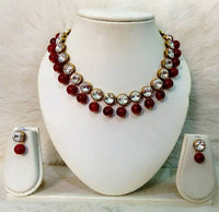 Kundan and Maroon Glass Bead Necklace With Earrings (5622242705569)