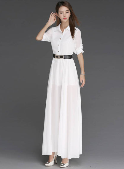 White Solid Side Slit Long Maxi Dress