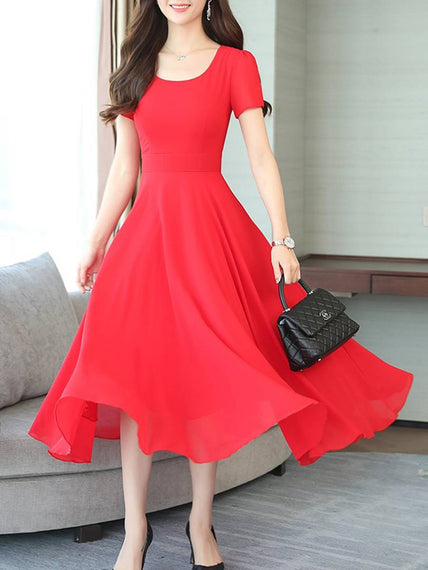 Women's Red Georgette Solid Midi Length Dress