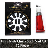 12 pcs set beauty black Fake Nails with Glue free combo (pack of 2)