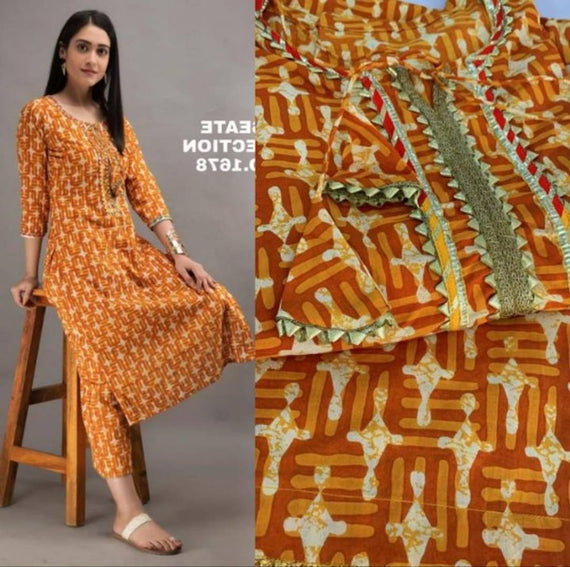 Cotton Printed Kurta With Palazzo Set