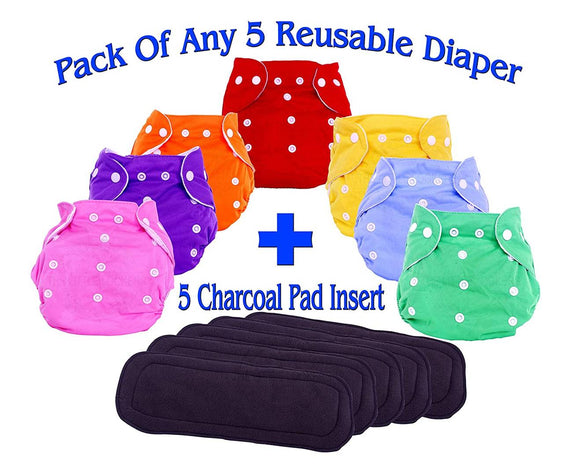 Adjustable Cloth Diaper Nappy With Bamboo Charcoal Diaper Liners Insert Pads For Kids I Age 0-2 Years