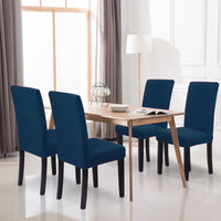 Poly Cotton Stretchable Elastic Dining Chair Covers Set of 4 (5630420418721)