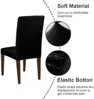 Poly Cotton Stretchable Elastic Dining Chair Covers Set of 4 (5630420385953)