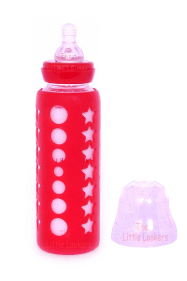 Glass Feeding Bottle for Newborns/Infants/Babies | with Silicone Warmer Cover (Red, 240 ML)