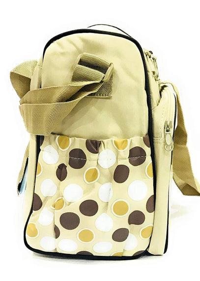Premium Quality Waterproof 2 in 1 Mother Trendy Shoulder Diaper Bag | Dotted Tote Bag and Changing Mat| Nursing, Maternity Bag/Baby Bag Set (Cream)