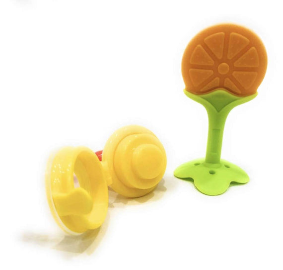 Fruit Shape Silicone Teether with Fruit Pacifier for Baby (Combo Saver Pack of 2)