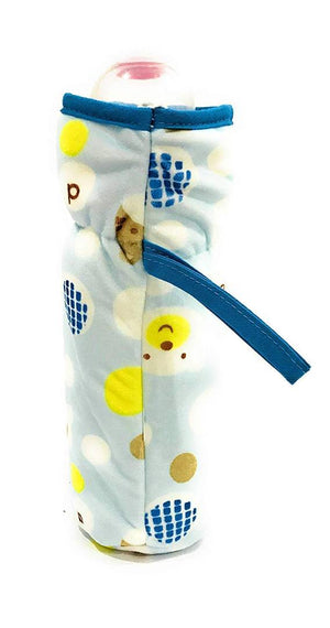 Soft Plush Stretchable Baby Feeding Bottle Cover with Easy to Hold Strap | Suitable for 240ml | Cute Animated Overall Print Pack of 2 (Yellow & Blue - 240 ML)