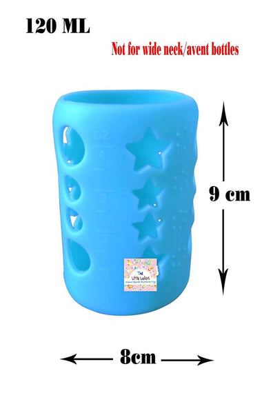 Baby Feeding Bottle Silicone Warmer Cover/Sleeve Holder/Insulated Protection for New-borns/Infants/Babies (Pack of 1) (Blue, 120 ML)