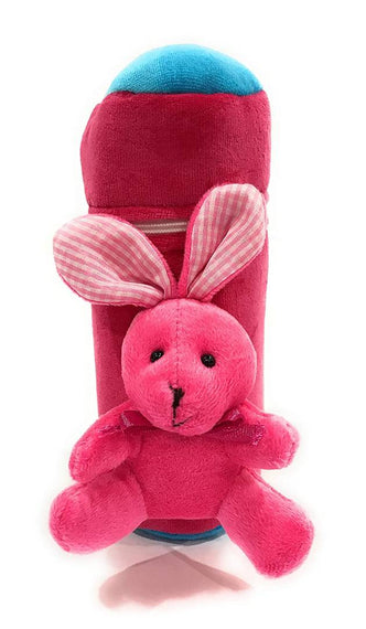 Soft Plush Stretchable Baby Feeding Bottle Cover with Easy to Hold Strap and Zip | Suitable for 240ml | Cute Animated Rabbit Patterned Pack of 2 (Red & Pink)