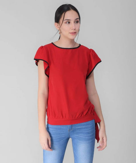 Stylish Red Crepe Flared Top