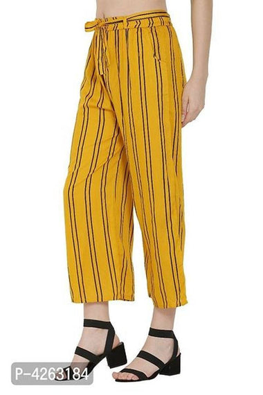 Fashionable Yellow Rayon Striped Trouser For Women