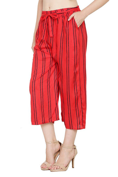 Stylish Rayon Red Striped Capri For Women