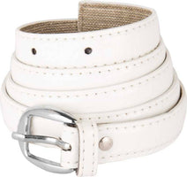 Girls White Artificial Leather Belt