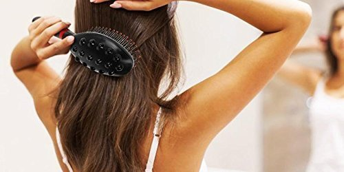 Battery Operated Vibration Magnetic Head Hairbrush with Double Speed in Treatment, Massage Tool, for Healthy and Beautiful Hair Black
