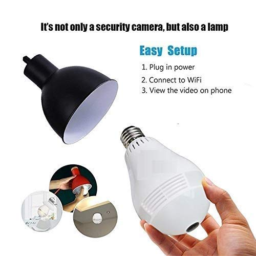 Bulb Shape Fisheye 360° Panoramic Wireless WiFi 1.3 MP 960P HD IP CCTV Security Camera with Sd Card Slot with Indian Bulb Holder