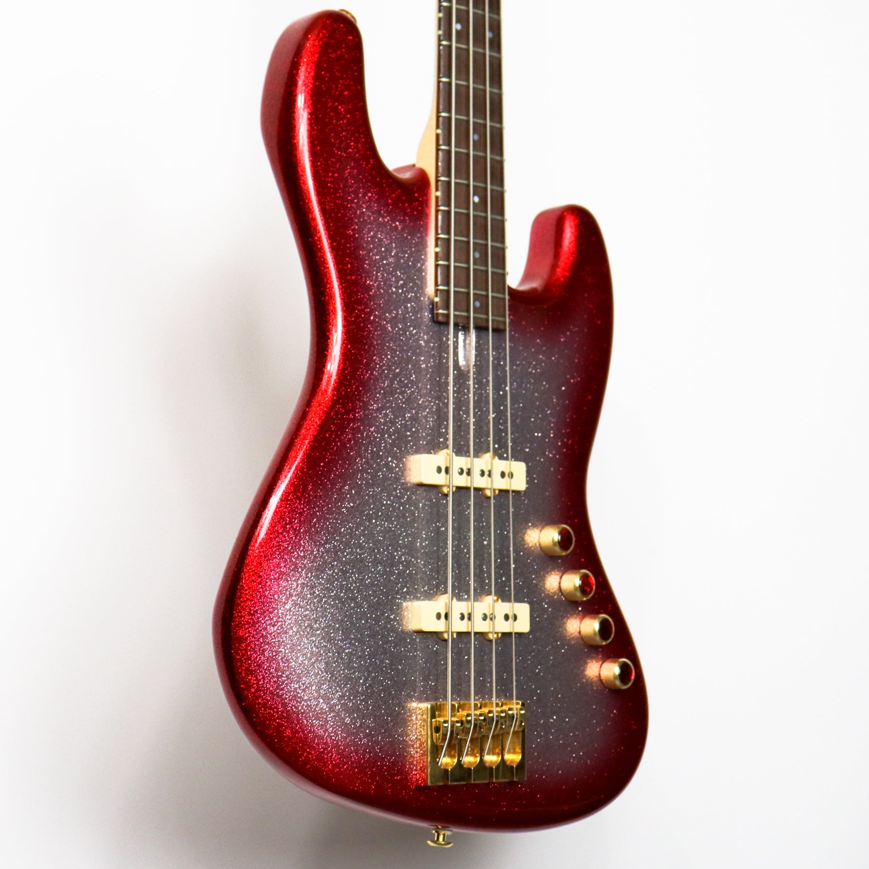 Pensa J Series 4 String Bass, PPG/Silver Flake Red Burst 0779