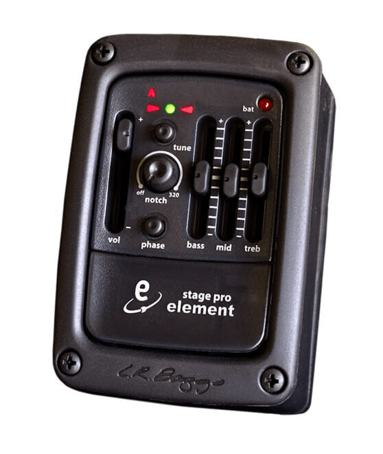 LR Baggs StagePro Element Includes Element pickup and side mounted preamp with tuner