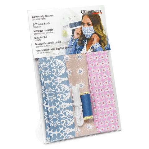 Gutermann 3 x Face Mask Sewing Kit - make your own masks with fabric, elastic and thread