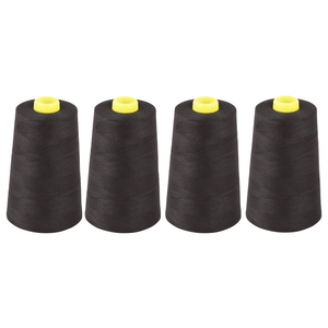 Pack of 4 x Overlocker Thread Cone 5000m Extra Large - Black - Designed for Overlockers