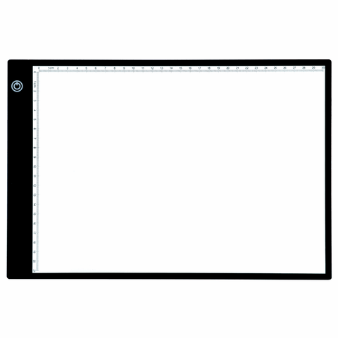 PURElite A4 Ultrathin Led Light Box with Natural Daylight dimmable LEDs - Features ruler border, USB, battery or mains powered