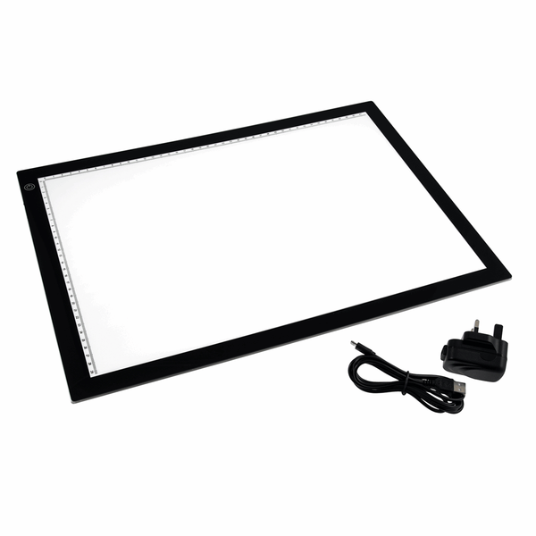 PURElite A3 Ultrathin Led Light Box with Natural Daylight dimmable LEDs - Features ruler border, USB, battery or mains powered