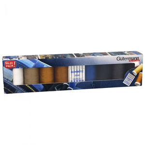 Gutermann creativ 8 x 100m strong thread for Denim + Assorted Jeans Needle Pack