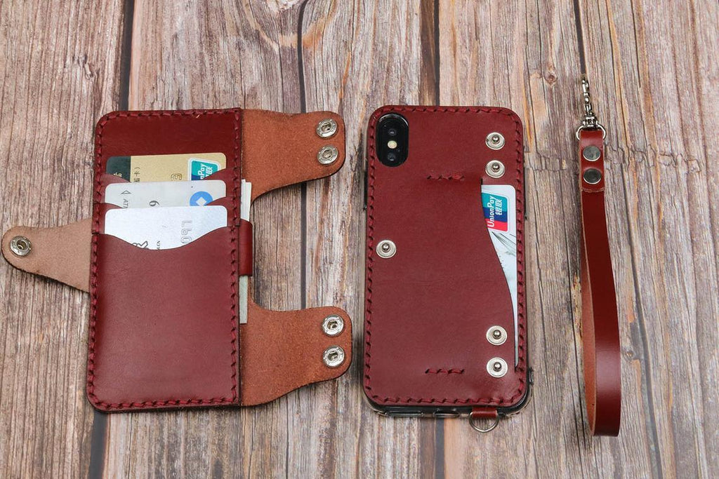 Handmade Leather Wallet Phone Case FOR iPhone