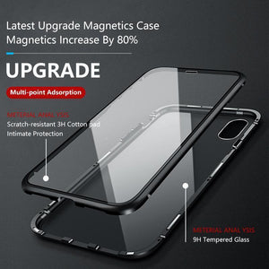 Original Magnetic Adsorption Transparent Double Side Tempered Glass Phone Case For iPhone 6 7 8Plus X 11