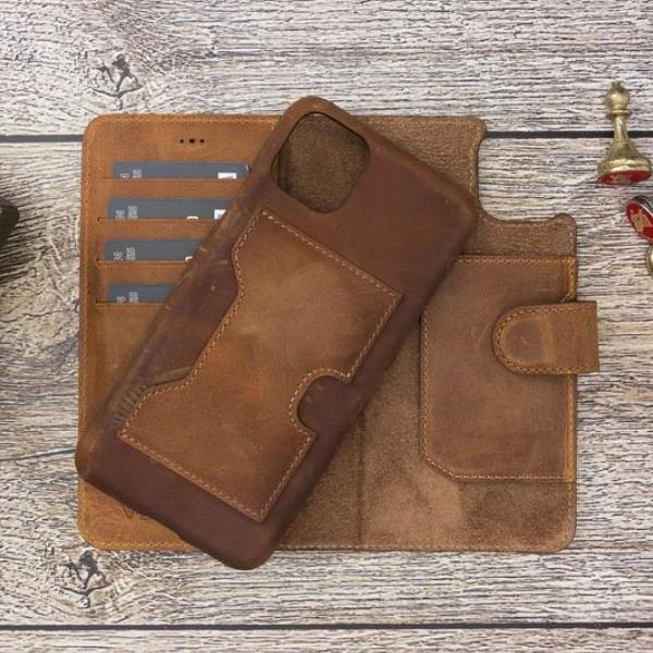 Handmade - Leather Wallet Case for iPhone Series